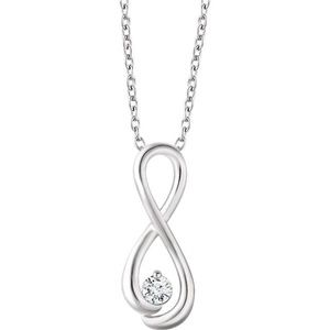 "14K White 1/6 CTW Diamond 16-18"" Necklace"